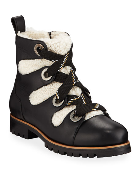 Jimmy Choo Bei Flat Booties with Shearling