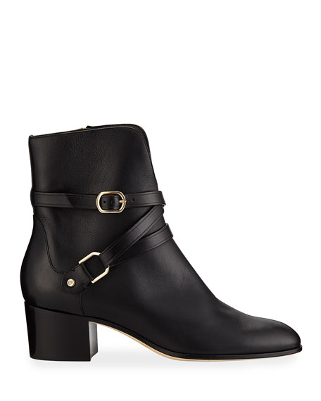 Jimmy Choo Harker Leather Buckle Booties