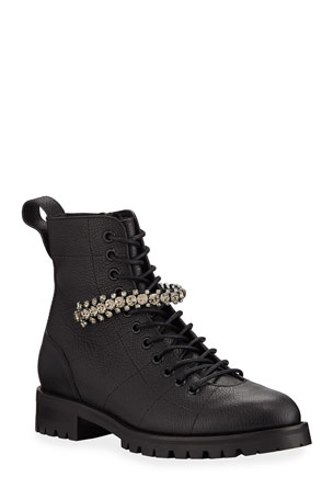 Jimmy Choo Cruz Crystal-Strap Combat Booties