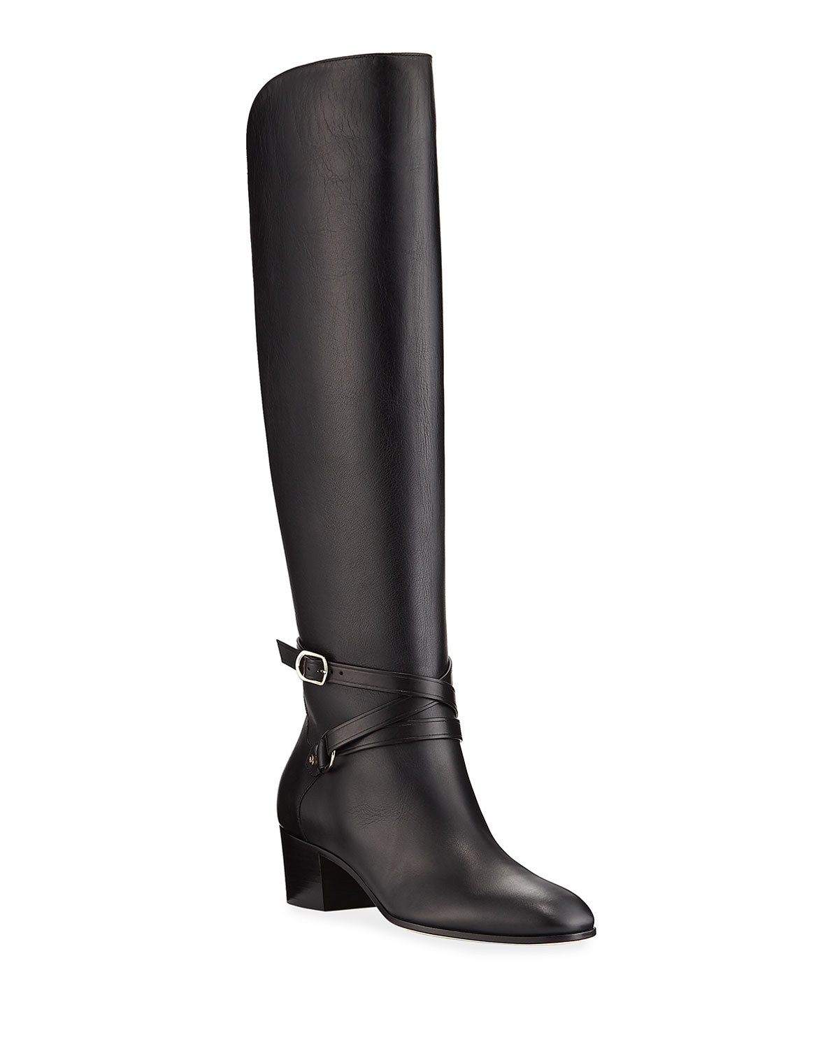 Huxlie Smooth Leather Knee Boots by Jimmy Choo