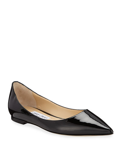 Love Patent Ballet Flats with Button