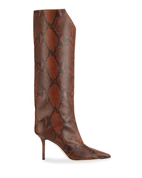 Jimmy Choo Brelan Snake-Print Knee Boots