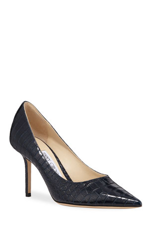 Jimmy Choo Love Crocodile-Embossed Pumps
