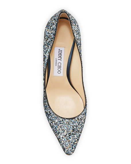 Jimmy Choo Romy 85mm Party Coarse Glitter Pumps