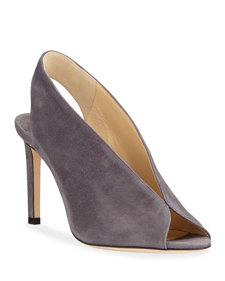 Jimmy Choo Shar Dipped Suede Slingback Pumps