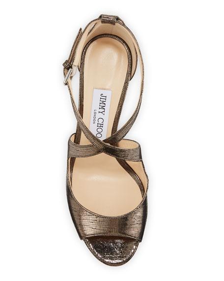 Jimmy Choo Emily Metallic Lizard-Print Sandals