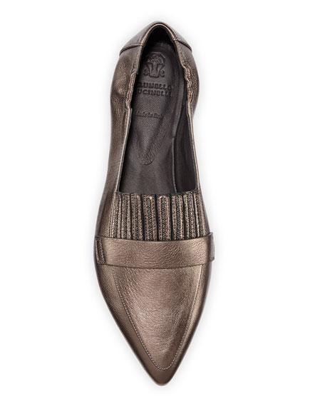 Brunello Cucinelli Metallic Leather Flats with Monili Fringe