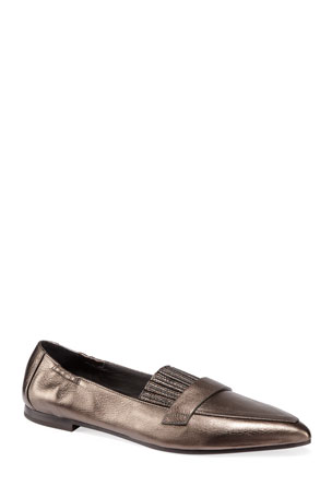 Brunello Cucinelli Metallic Leather Flats with Monili Fringe