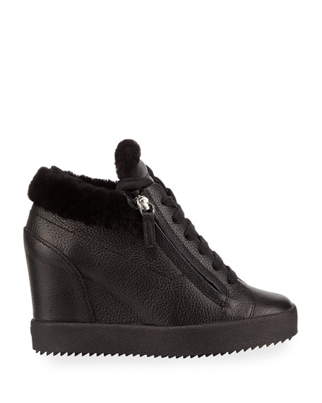 Giuseppe Zanotti Fur-Lined High-Top Sneakers, Black