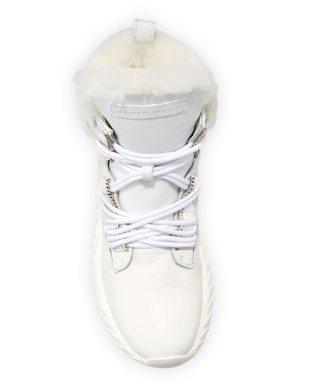 Giuseppe Zanotti Fur-Lined High-Top Sneakers, White