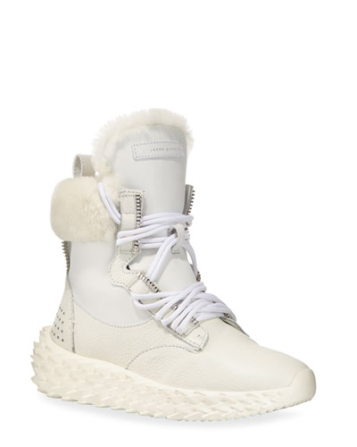 Fur-Lined High-Top Sneakers  White