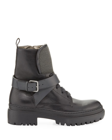 Brunello Cucinelli Lug-Sole Monili Lace-Up Combat Boots