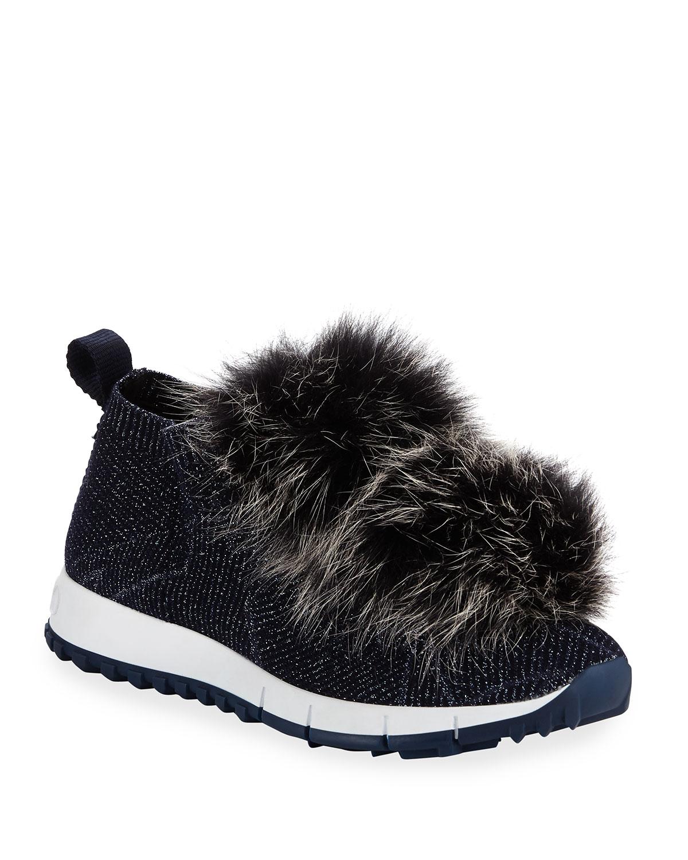 d1eea7effbc Jimmy Choo Norway Metallic Sneakers With Fur Trim