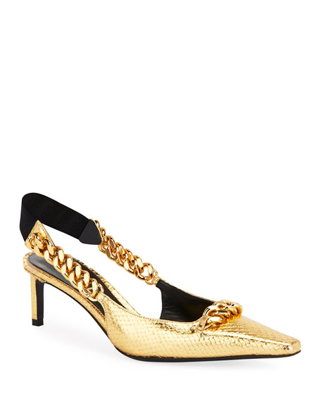 Tom Ford Laminated Python Chain Pumps In Gold