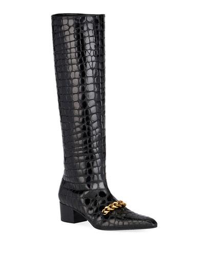 Super Embossed Crocodile Boots