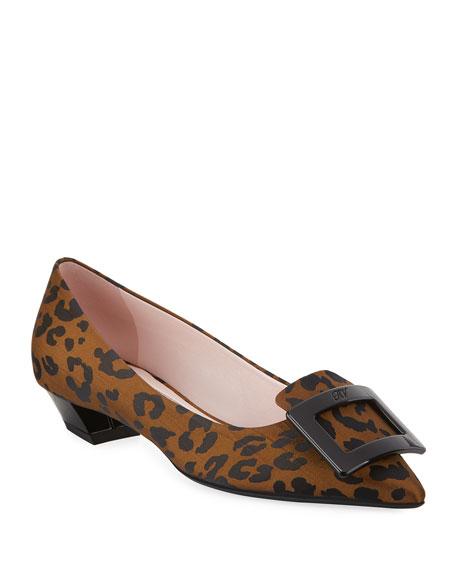 Roger Vivier Gommettine Ball Leopard Low-Heel Pumps