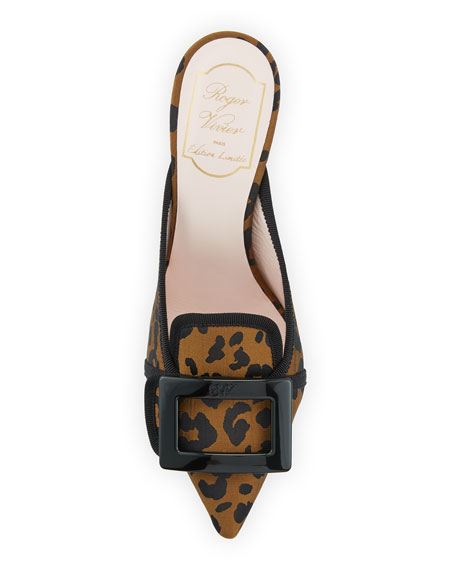 Roger Vivier Leopard-Print Mules with Resin Buckle