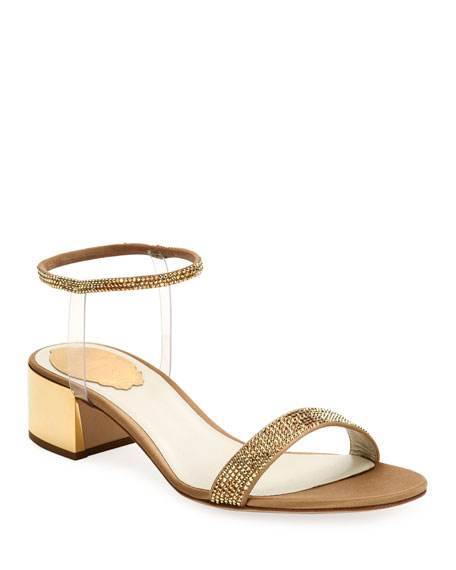 René Caovilla Sandals 40MM SANDALS WITH SEE-THROUGH ANKLE WRAP