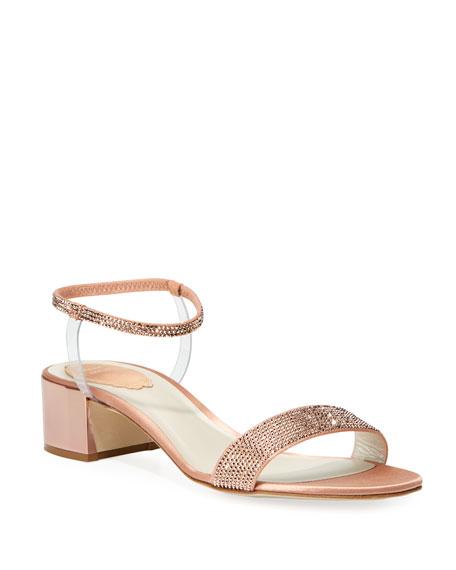 Rene Caovilla Crystal-Embellished Satin Anklet Sandals