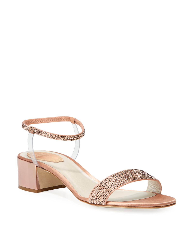 6cedfb28f4e Crystal-Embellished Satin Anklet Sandals