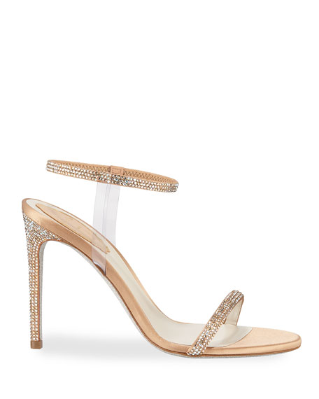 Rene Caovilla Crystal-Trim 105mm Sandals with PVC Straps, Beige