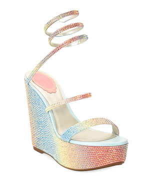 ad1dbe73933590 Rene Caovilla Ombre Crystal Snake-Ankle Wedge Sandals