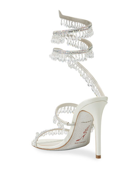 Rene Caovilla Beaded Crystal Ankle-Wrap Sandals