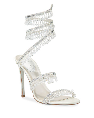 Beaded Crystal Ankle-Wrap Sandals