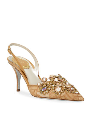 7252de16cebe Rene Caovilla Jeweled Lace Mid-Heel Pumps