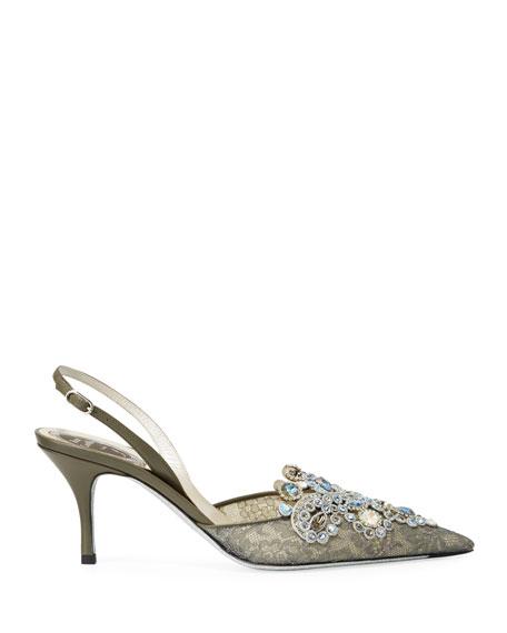 Rene Caovilla Jeweled Lace Mid-Heel Pumps
