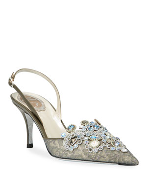 800f460f5c3d Rene Caovilla Jeweled Lace Mid-Heel Pumps