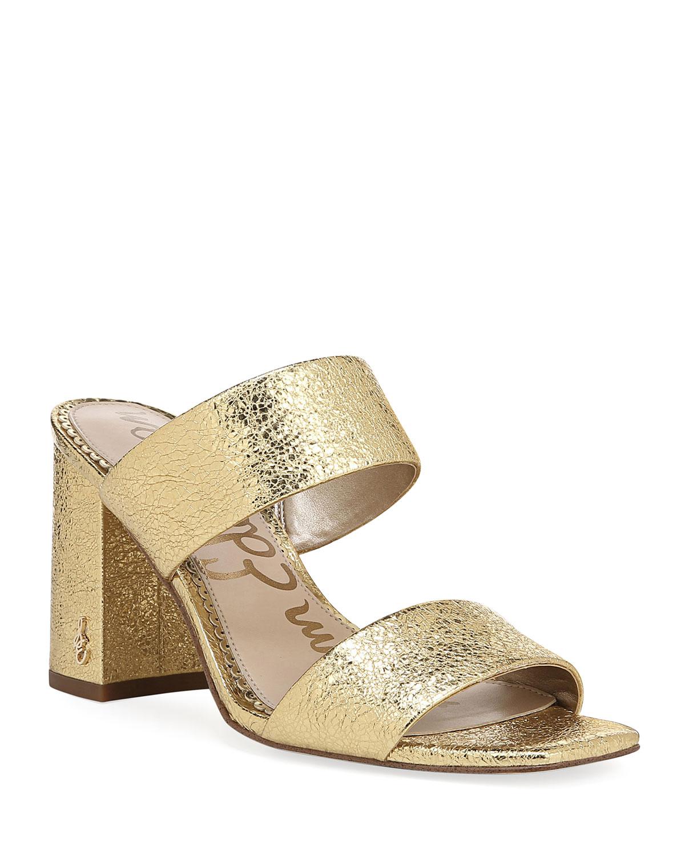 f7841ec3c2c9 Sam Edelman Delaney Metallic Block-Heel Slide Sandals