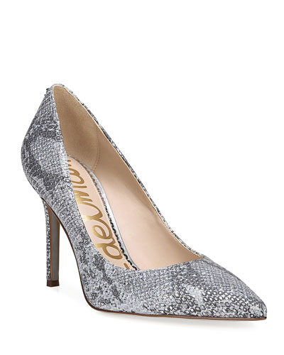 Hazel Snake-Embossed Leather Pumps
