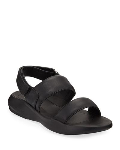 Ella Grand Leather Slingback Sandals  Black