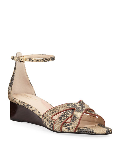Hanna Grand Snake-Print Wedge Sandals