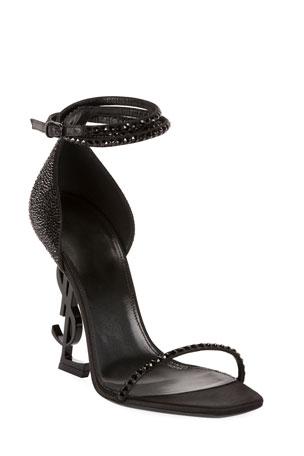 Saint Laurent Opyum YSL Logo-Heel Sandals with Black Hardware