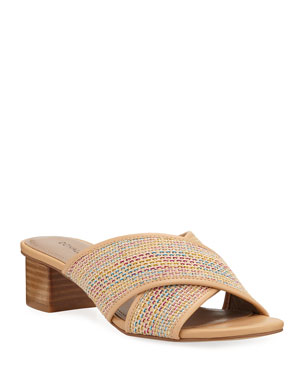 f3f00efa16d Donald J Pliner Mally Shimmery Woven Low-Heel Sandals