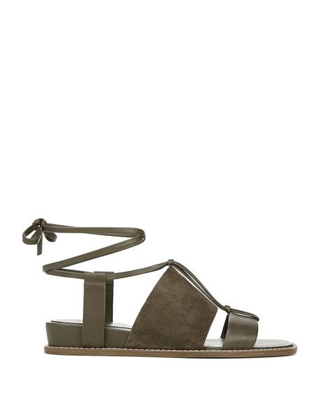 Vince Forster Flat Leather Ankle-Tie Sandals