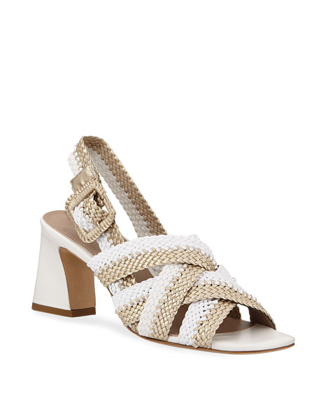 Donald J Pliner Vara Metallic Woven Sandals