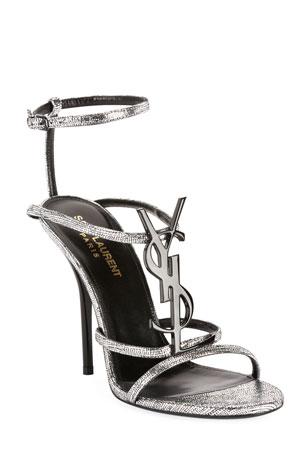 Saint Laurent Cassandre Metallic YSL Sandals