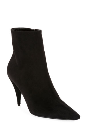 Saint Laurent Kiki Suede Pointed Booties
