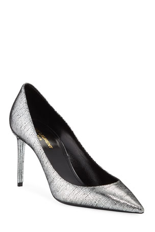 Saint Laurent Zoe Metallic Leather Pumps