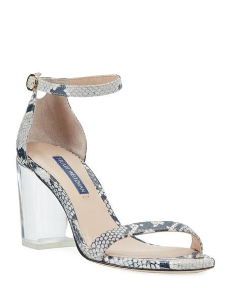 Stuart Weitzman Nearlynude Clear-heel Snake-print Sandals In Roccia