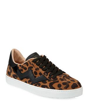 d953a1d1f73 Stuart Weitzman Daryl Low-Top Leopard Suede Sneakers