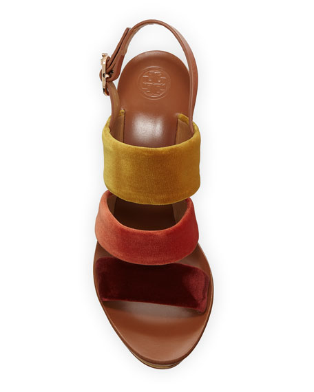 Tory Burch Patos Velour Banded Platform Sandals
