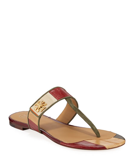 Tory Burch Kira Patchwork Leather Flat Sandals