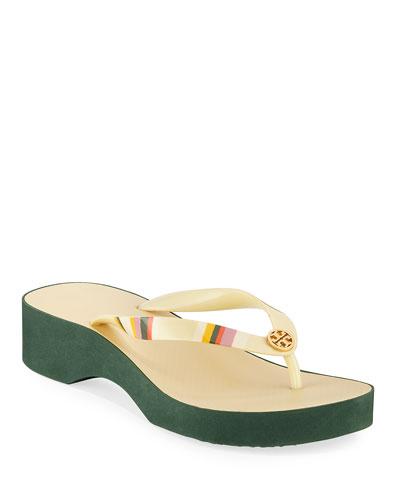 Printed Wedge Thong Sandals