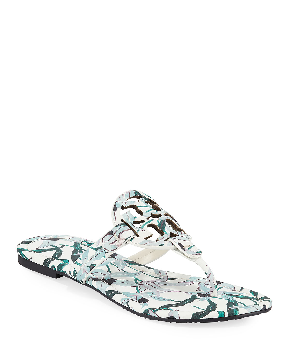 d681d769afa9 Tory Burch Miller Medallion Floral-Print Leather Flat Thong Sandals ...