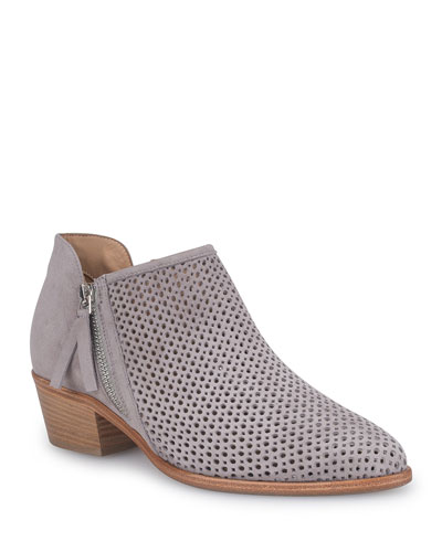 Saria Perforated Suede Ankle Boots