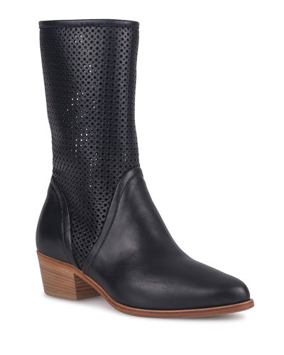 Ala Tall Waterproof Perforated Leather Booties